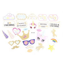 2017 Lovely Rainbow Unicorn Pegasus Photo Booth Props Kit - 26 Pack Party Camera Props Multicolors 26Pcs/set(China)