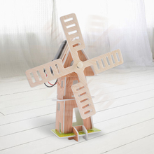 Brand new Foam Solar Energy Powered 3D Windmill Waterwheel DIY Puzzle Jigsaw Building Block Educational Toy Gift for Kid Child(China)