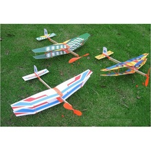 Hot Selling 50*43cm Toy Rubber Band Powered Glider Biplane Assemble Aircraft Plane Model For Kid Education