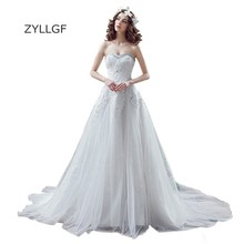 ZYLLGF Vestido Novia Bohemio 2017 A Line Sweetheart Bride Dresses Appliques Beaded Plus Size Bridal Gown White Wedding Dress H3(China)