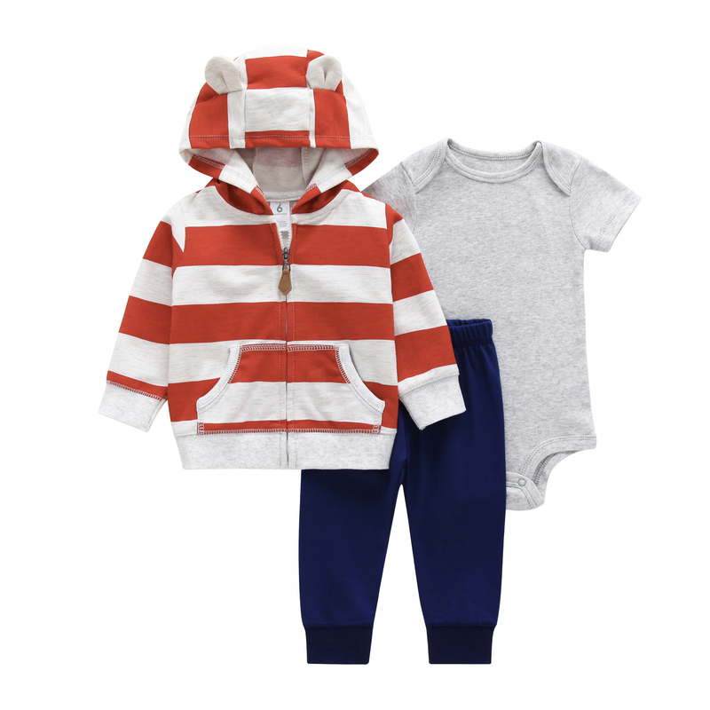newborn baby boy clothes set long sleeve stripe hooded jacket+bodysuit+pants 2019 new born outfit infant clothing babies suit