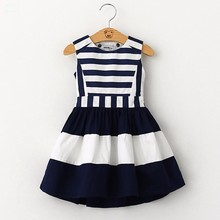 2016 sweet new kids fashion children Korean style clothing sleeveless summer dress girls striped navy wind sling vest dress(China)