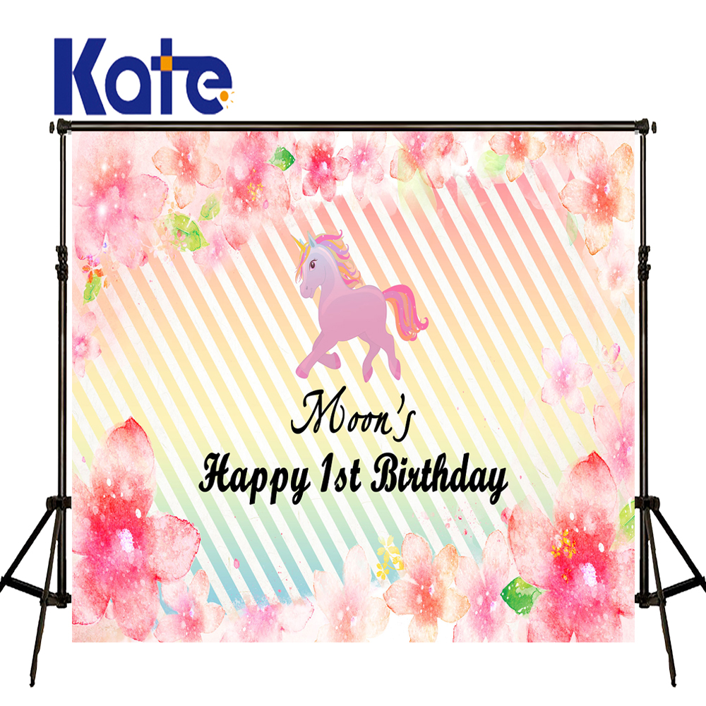 KATE Photography Backdrops Flower Birthday Custom Photography Backdrop Unicorn Backdrop Newborn Colourful Striped Backdrop Photo<br>