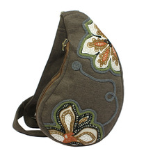 cotton fabric water skin shape flower embroidery women handbag front side chest pack casual cross body bag