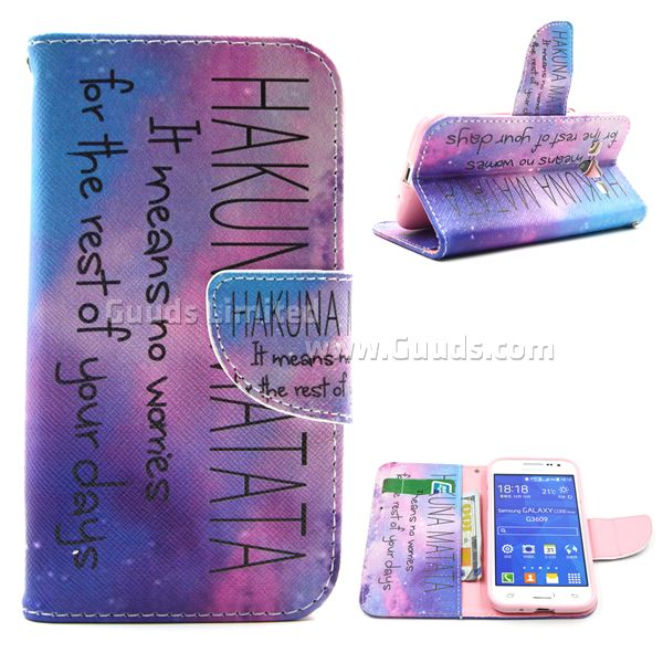 For font b Samsung b font G360 font b Case b font Hakuna Matata Leather Wallet