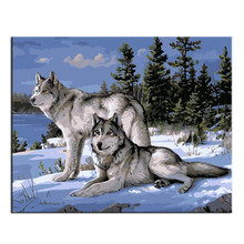 Canvas Art Wall Picture Wolf King Painting Peinture Cuadros Decorativos Painting By Numbers Picture DIY Digital Oil Painting(China)