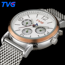 169 Men Quartz Watches 2016 TVG Brand Male Fashion Casual stainless steel waterproof Analog wristwatch Business Quartz-watch