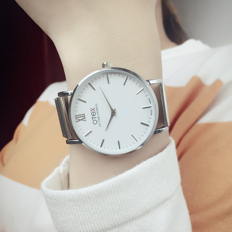 OTEX@ luxury brand watch couples dress new fashion simple beautiful weaving belt, stainless steel quartz watch gift.<br><br>Aliexpress