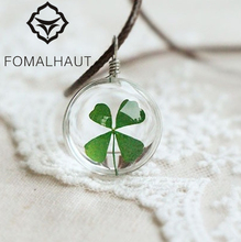 Hot FOMALHAUT Crystal glass Ball Clover Necklace Long Strip Leather Chain Dried flowers Pendant Necklaces Women 2016 Jewelry(China)