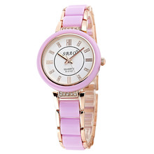 2016 fashion womens watches top brand luxury Quartz Ladies Crystal Bezel Silver Dial Two Tone Bracelet Buckle Jewelry Watch