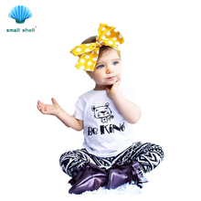 small shell 2016 summer style children kids clothing sets baby girls clothes suits be kind Cute bear printing 2PCS F0022