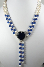 2 rows 7-8MM White Genuine Freshwater  Pearl blue jades bead  pendant necklace 18inches