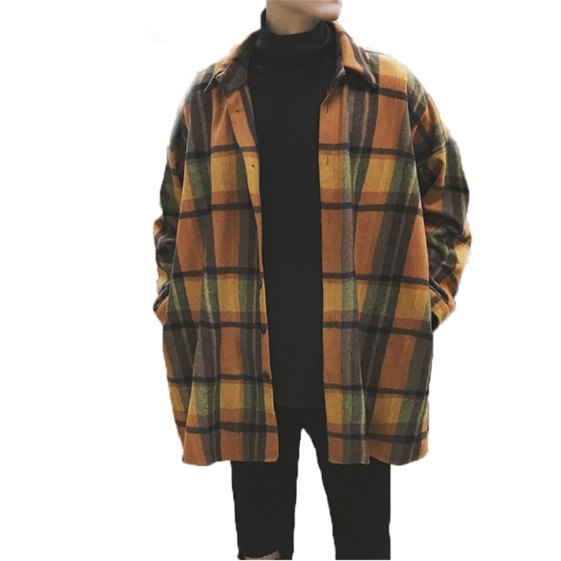 Male Oversized Flannel Shirts Men Plaid Vintage Streetwear Hip Hop Loose Casual Long Sleeve Autumn Winter Brand Korean Shirts