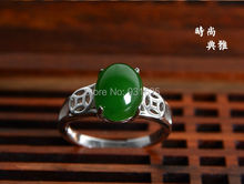 100% Genuine Natural  HeTian Jade Ring 925 Silver Lucky Ring + certificate Green Jade Rings Fashion Woman's Jewelry adjustable