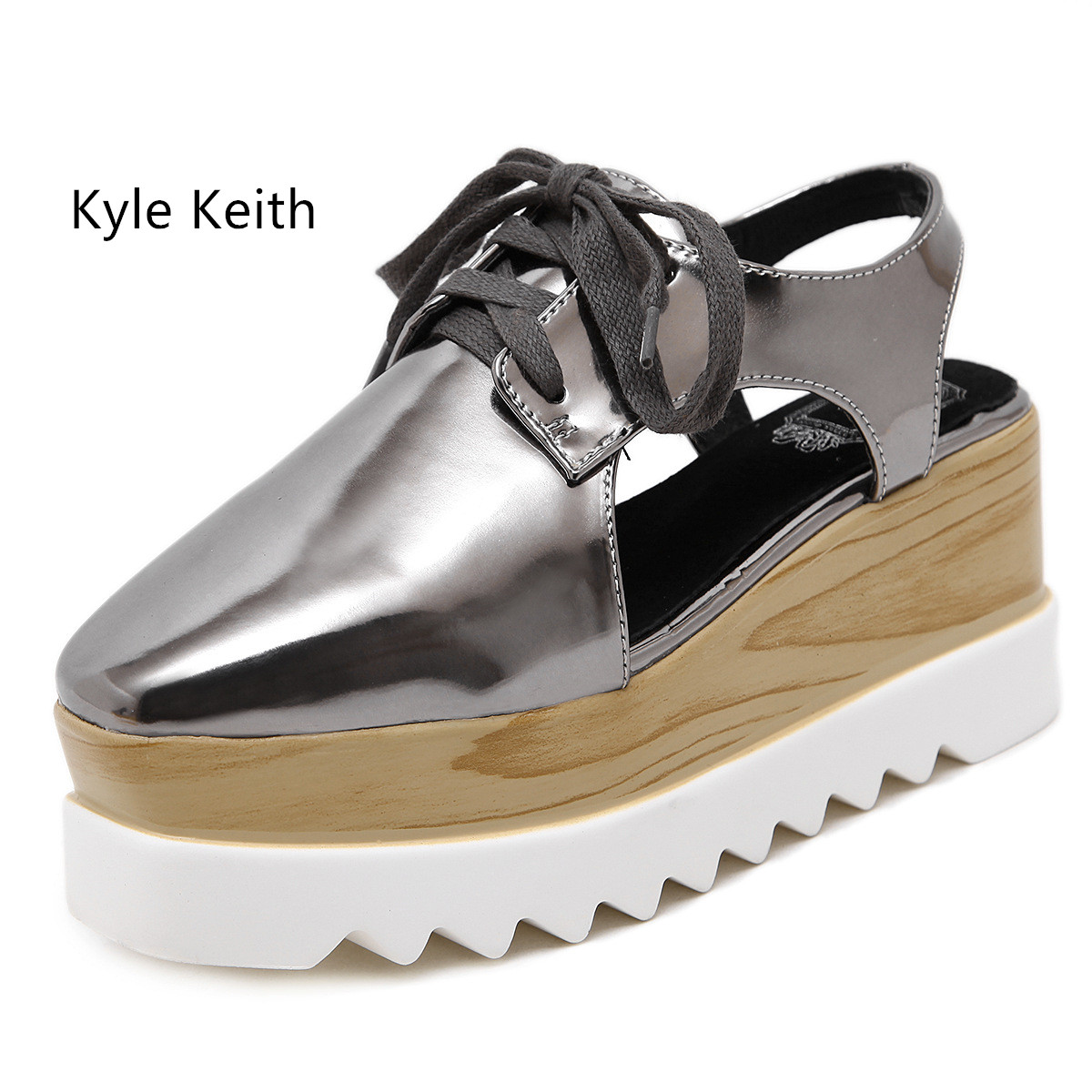 Kyle Keith Spring and Summer Luxury Height Increasing Women Shoes Flat Platform Brand Fashion Womens Flats Shoes<br>
