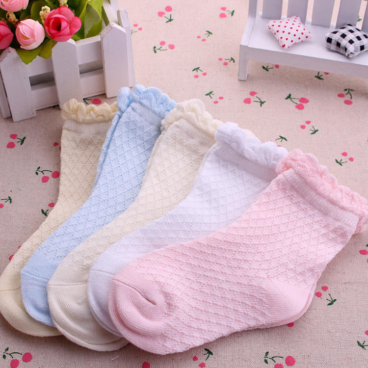 5 Pairs/Lot Mesh Thin Girls Socks For Children Kids New Summer Baby Cotton Soild Candy Colors Lace Ruffle Short Girl Sock Set 6