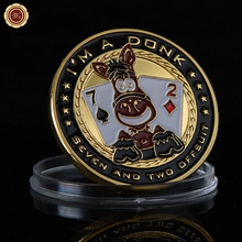 "Entertaining ""I'm A Donk"" Poker Chip Coin With Seven And Two Offsuit Design Colorful Casino Challenge Coin metal Gold Plated"