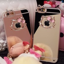 sFor iPhone 8 Luxury Beautiful Diamond Rhinestone Hello Kitty+Mirror Soft TPU Case For iPhone 7 Plus For iPhone 6 6S Plus 5s
