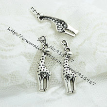Sweet Bell 30pcs/lot 11*41mm Vintage Silver Metal Alloy Lovely Christmas Charms giraffe Jewelry Charms D0474