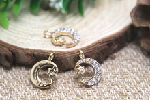 5pcs-- Moon and Star, Rhinestones, Moon charms, gold plate d star Crescent Moon charms pendants 12x17mm