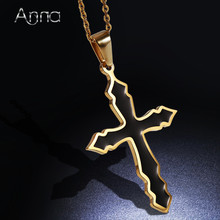 A&N Solid Black Plated Cross Stainless Steel Pendent Choker Necklaces Fashion Necklaces & Pendants With 45cm Long Necklace Chain(China)