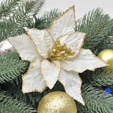 5Pcs/lot 18cm 2layers Flannelette Gold Dusting Christmas Flower for Christmas Tree Party Festival Celebration Decoration