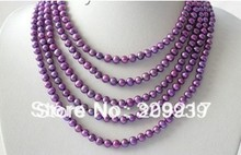 "CLASSIC 100"" 7mm round purple freshwater pearls necklace"