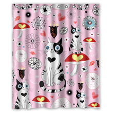 Cartoon White Black Cats Customize Unique Bath Waterproof Shower Curtain Bathroom Products Curtains 48x72, 60x72, 66x 72 inches