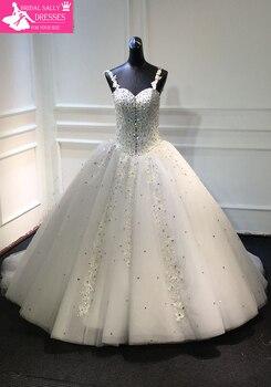 Gorgeous Hand-sewn Beadwork Wedding Dress Sweetheart Neckline with Spaghetti Straps Ball Gowns Bride Dresses MTOB1714