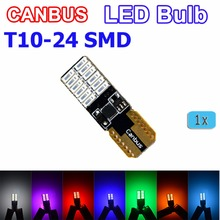 Super bright T10 W5W 3014 SMD 24 LED Canbus Reading Light 1 Pcs White / Blue / Red / Yellow / Green/Crystal Blue/Purple