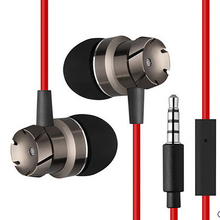 Metal Earphone Fashion Design TurbineShape HIFI Stereo Good Sound Music Headset Hands Free Headphone with Mic for Mobile Phone