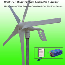Great Discount 5 Blades 400W 12V Wind Turbine Generator With Waterproof Wind Generator Controller & 600W Pure Sine Wave Inverter