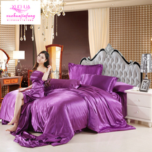 100% good quality Satin Silk Bedding Sets Flat Fitted Sheet Solid color Queen King size 4pcs/6pcs pure purple Duvet Cover golden(China)