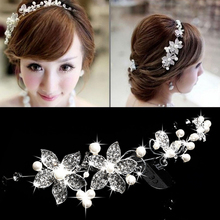 Hot Sell Luxury Silver Rhinestone Pearl Bridal Wedding Flower Headband Wedding Tiara Hair Jewelry Hair Clip Comb Women Jewelry(China)