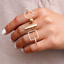 New Beautiful Cute Simple Round Cube Jewelry Ring Set for Woman Gift Wholesale 444M