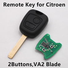 (VA2 Blade) Remot Car Key for Citroen C1 C2 C3 C4 Xsara Picasso ID46 Transponder CHIP 2 BUTTONS 433MHz ID46 Chip