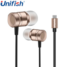 Unifish Earphone Type-C Metal In-Ear USB-C High Bass Earphone Wired Control With MIC For Xiaomi Mix Max 2 Max S Mi6 Smartphone(China)