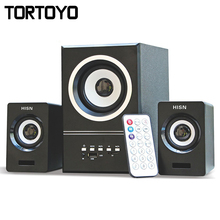 5W+3W*2 Multi Media Subwoofer 3D Surround Stereo Bass USB Speaker Loudspeaker for Computer PC with Remotor TF Card Slot FM Radio