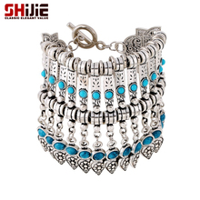 SHIJIE Boho Tassels Cuff Bracelets & Bangles for Women Vintage Lovely Silver color Turquoises Charm Bracelet Men Fashion Jewelry