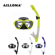 AILLOMA Scuba Diving Snorkeling Mask Tube Silicone Waterproof Anti Fog leak Diving Masks and snorkels Set for diver Equipment(China)