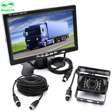 "GreenYi Vehicle IR LED Back up Reverse Camera 4-pin Connector + 7"" LCD Color TFT Rear View Monitor 800*480 for Bus Truck RV"