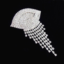 Bright Clear Crystals Chain Drop Women Costume Brooch Vintage Luxury Large Silver Brooch Pins