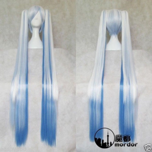HOT sell Free Shipping &gt;&gt;&gt;&gt;Hot sell !!! Vocaloid Snow Miku Long Blue/White Wig + 2 Ponytails<br><br>Aliexpress
