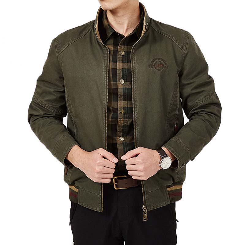 Spring Autumn Double Side Bomber Jacket Cotton Men Business Casual Baseball Jacket and Coat Stand Collar Male Clothes Plus Size
