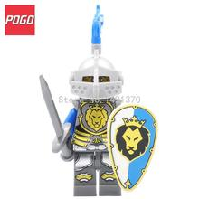 POGO Medieval Castle Knight Figure Blue Lion with Weapons Single Sale Building Blocks Figure Bricks Toys For Children
