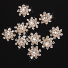 New Hot 10Pcs Round Pearl Rhinestone Flatback Buttons Wedding Dress Decoration Accessories Embellishments Crafts Free Shipping