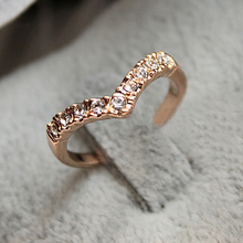 2015 Fashion Women Jewelry The Unique Design Rhinestone Pinkie Ring Section B0D35 5D Wholesale