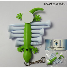 Free Shipping Outdoor Gekkonidae Golf Tees Holder Carrier 6 Plactic Golf Tees with Ball Marker And Keychain