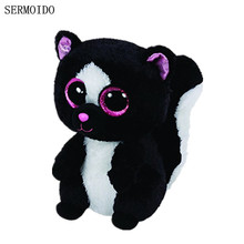 Beanie Boos Flora Black/White Skunk Plush Cute Big Eyes Stuffed Animal 6'' 15cm Kids Toys for Children Gifts S13