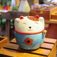 Japanese style plutus cat money box lucky ornament ceramic piggy bank craft home decoration gifts four colours(China)